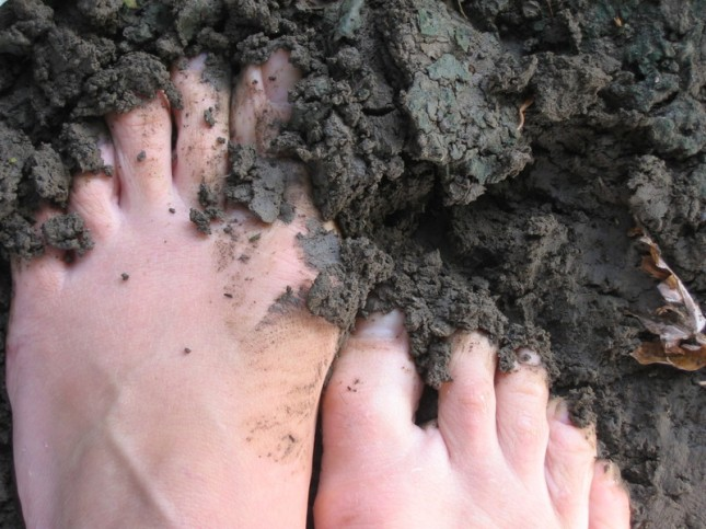 feet on muddy bank